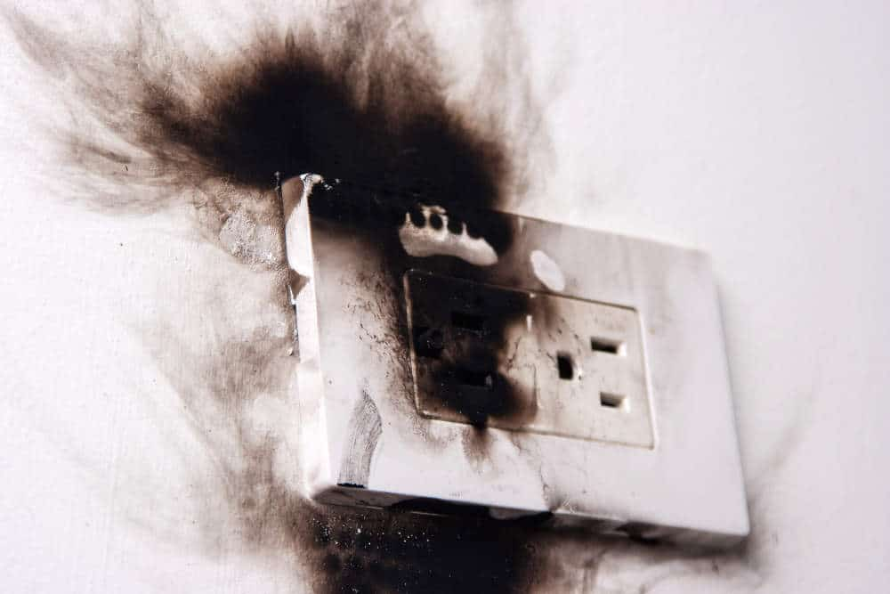 electrical outlet after catching fire