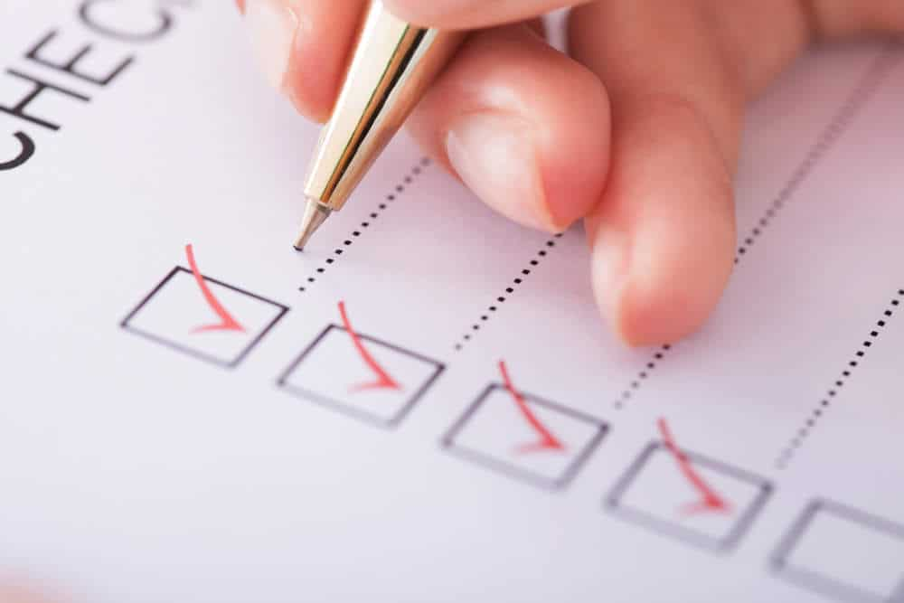 close up of checklist
