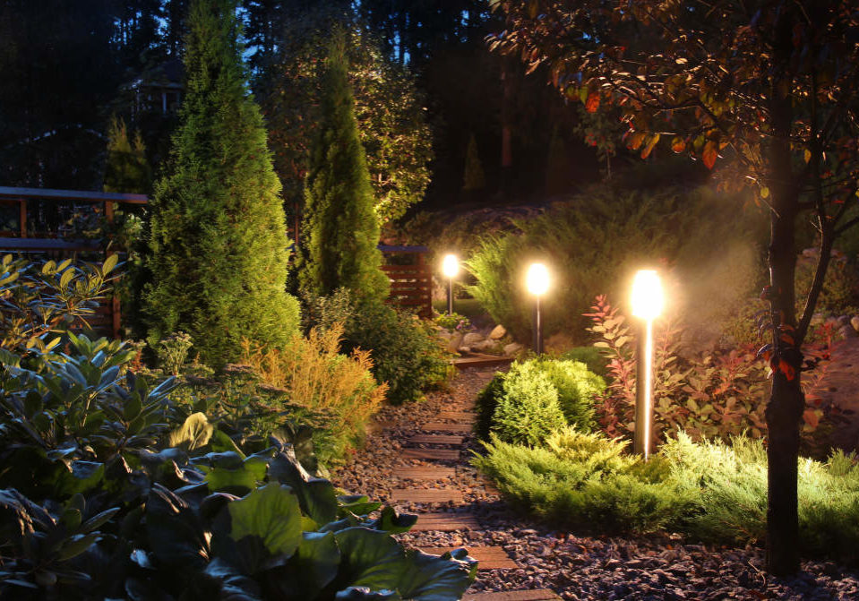 path through beautiful landscaped yard with bright outdoor lighting